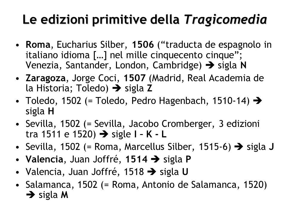 Le edizioni primitive della Tragicomedia