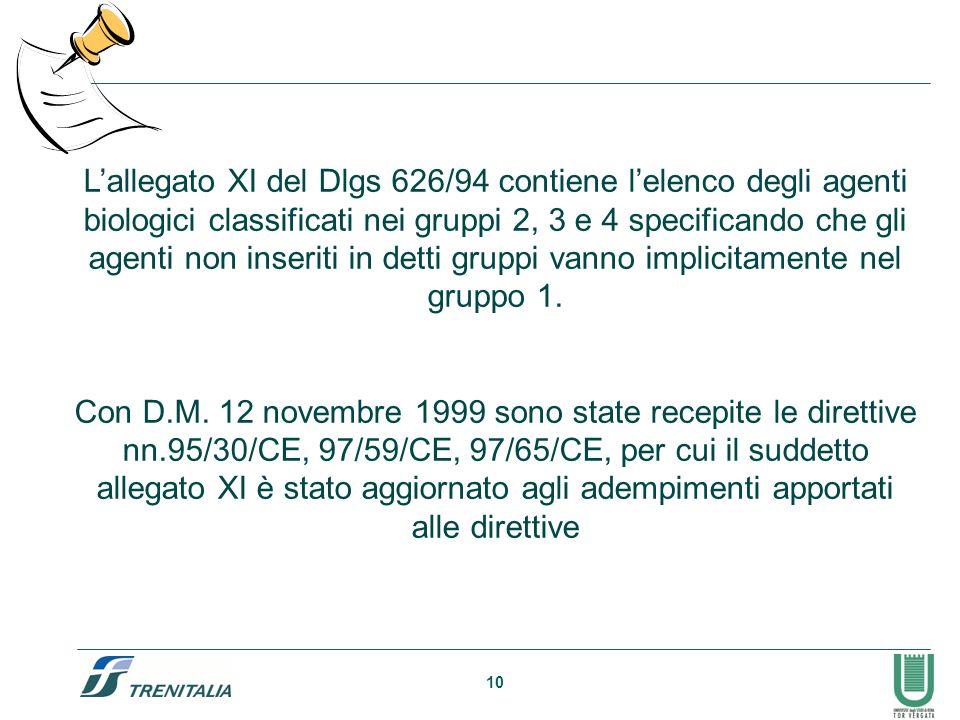 L'allegato XI del Dlgs 626/94 contiene l'elenco degli agenti biologici classificati nei gruppi 2, 3 e 4 specificando che gli agenti non inseriti in detti gruppi vanno implicitamente nel gruppo 1.