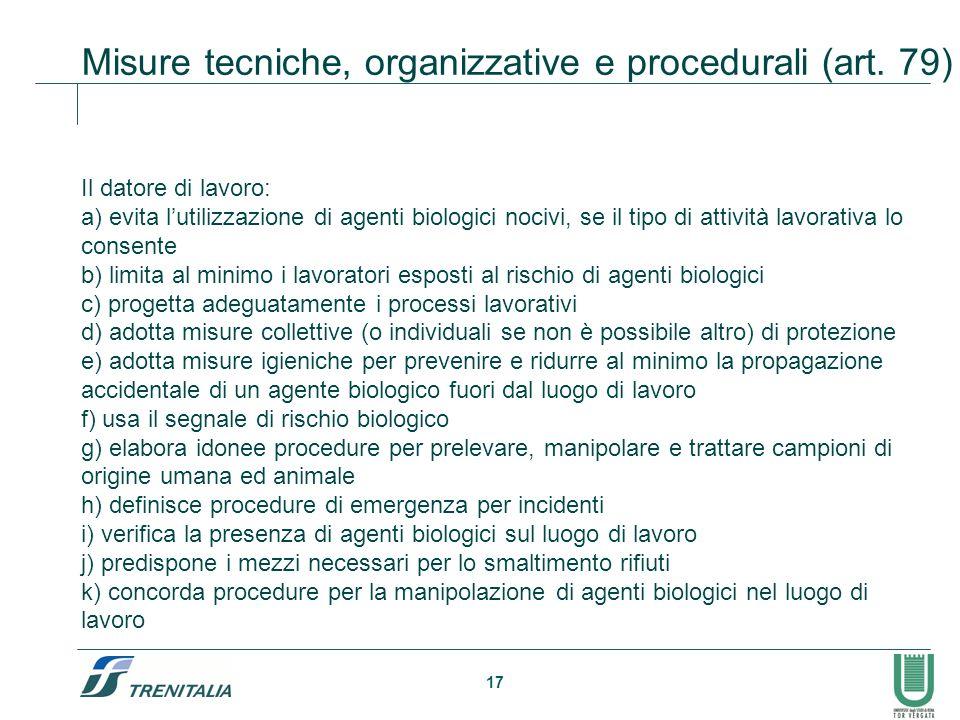 Misure tecniche, organizzative e procedurali (art. 79)