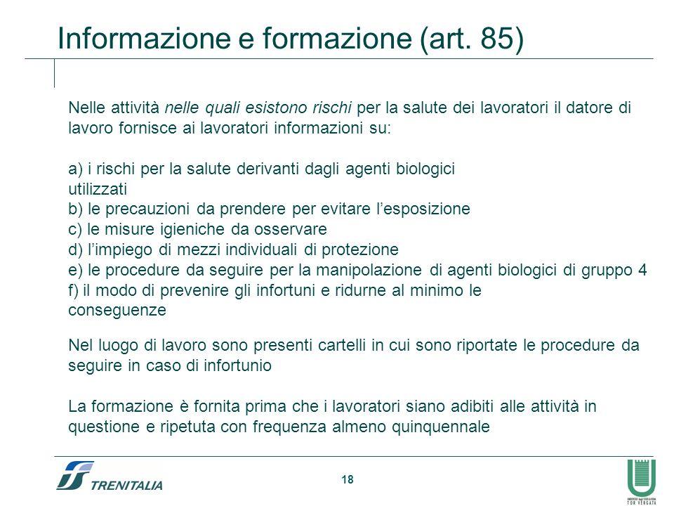 Informazione e formazione (art. 85)