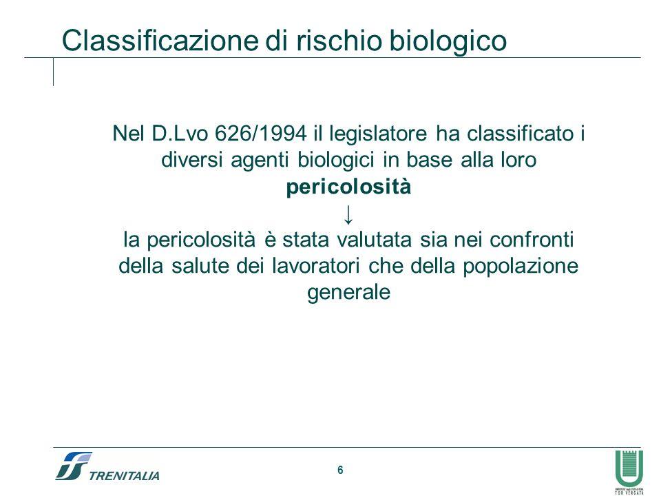 Classificazione di rischio biologico