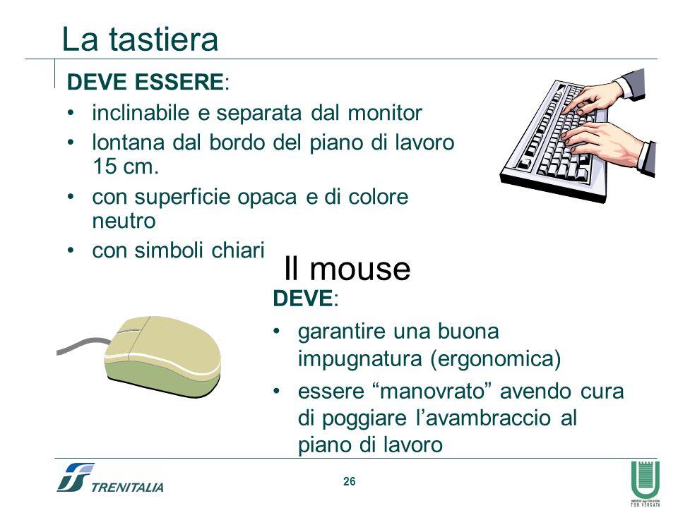 La tastiera Il mouse DEVE ESSERE: inclinabile e separata dal monitor