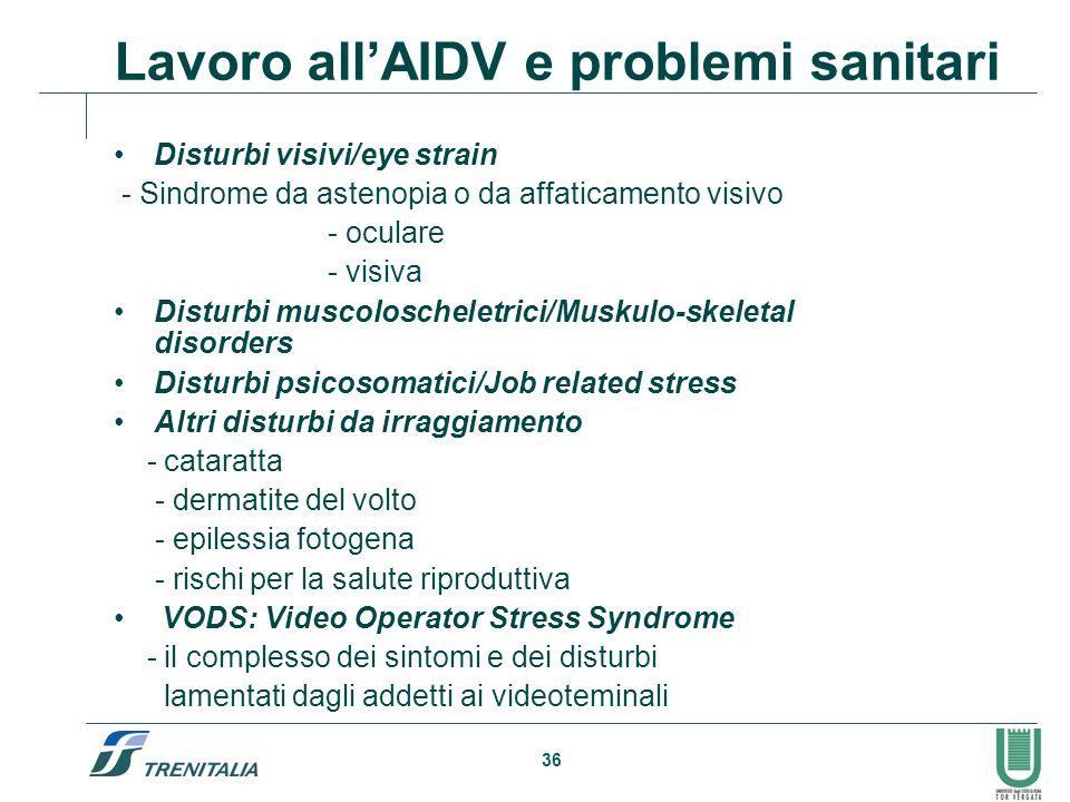 Lavoro all'AIDV e problemi sanitari