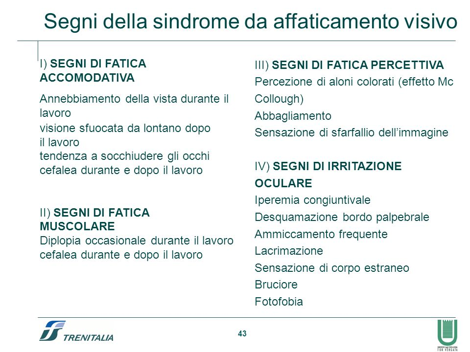 Segni della sindrome da affaticamento visivo