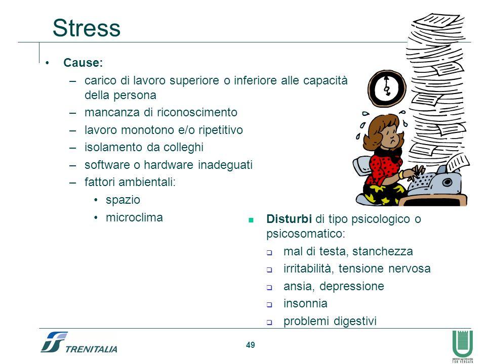Stress Cause: carico di lavoro superiore o inferiore alle capacità della persona. mancanza di riconoscimento.