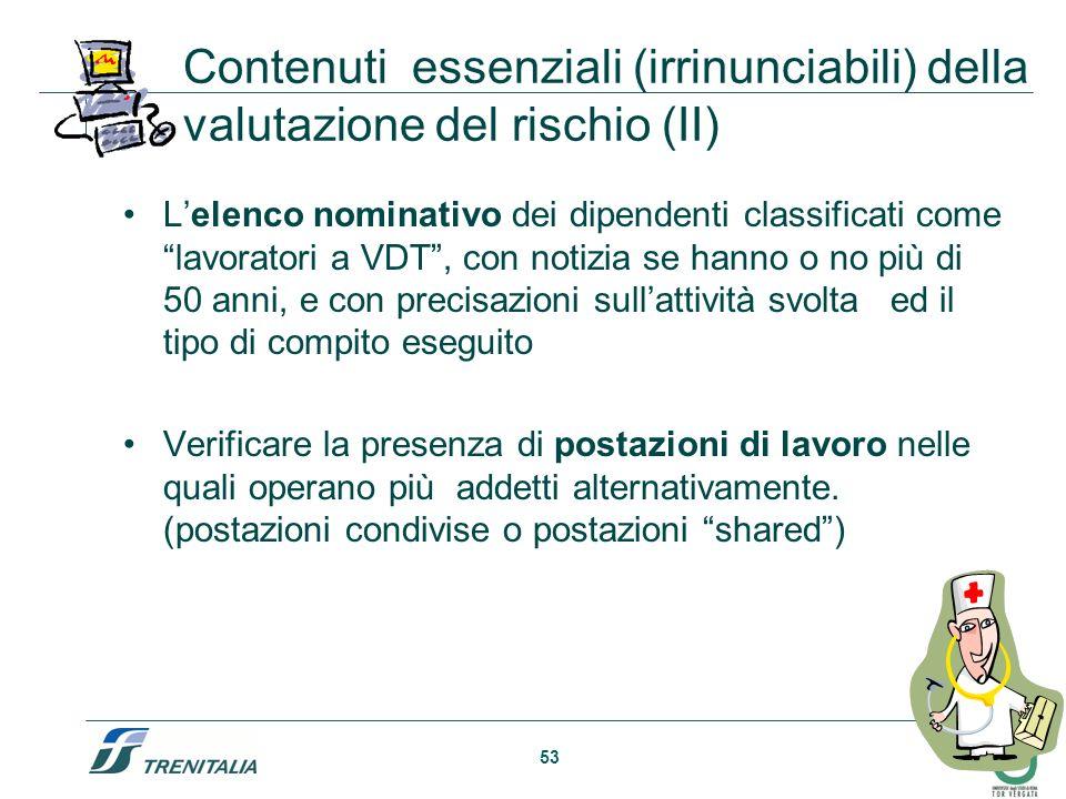 Contenuti essenziali (irrinunciabili) della valutazione del rischio (II)