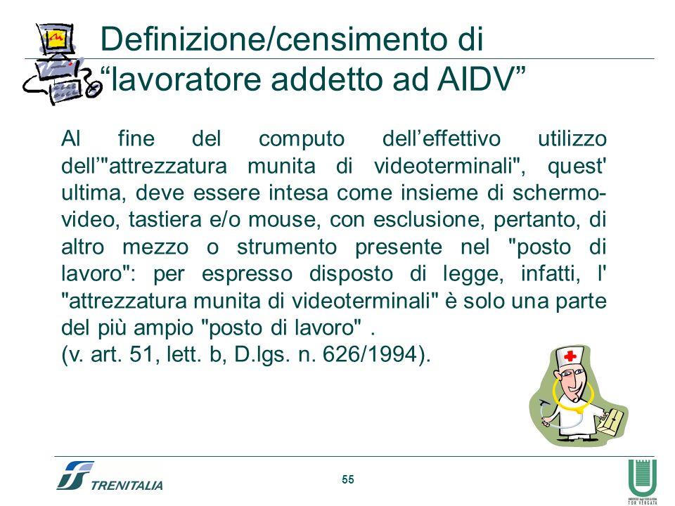 Definizione/censimento di lavoratore addetto ad AIDV