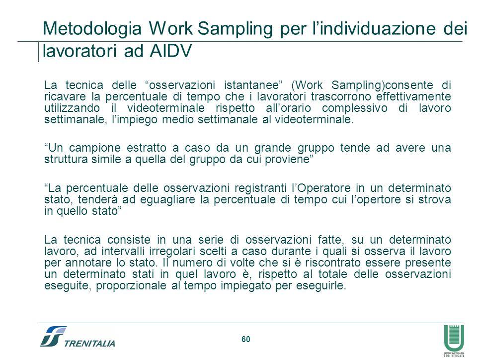 Metodologia Work Sampling per l'individuazione dei lavoratori ad AIDV