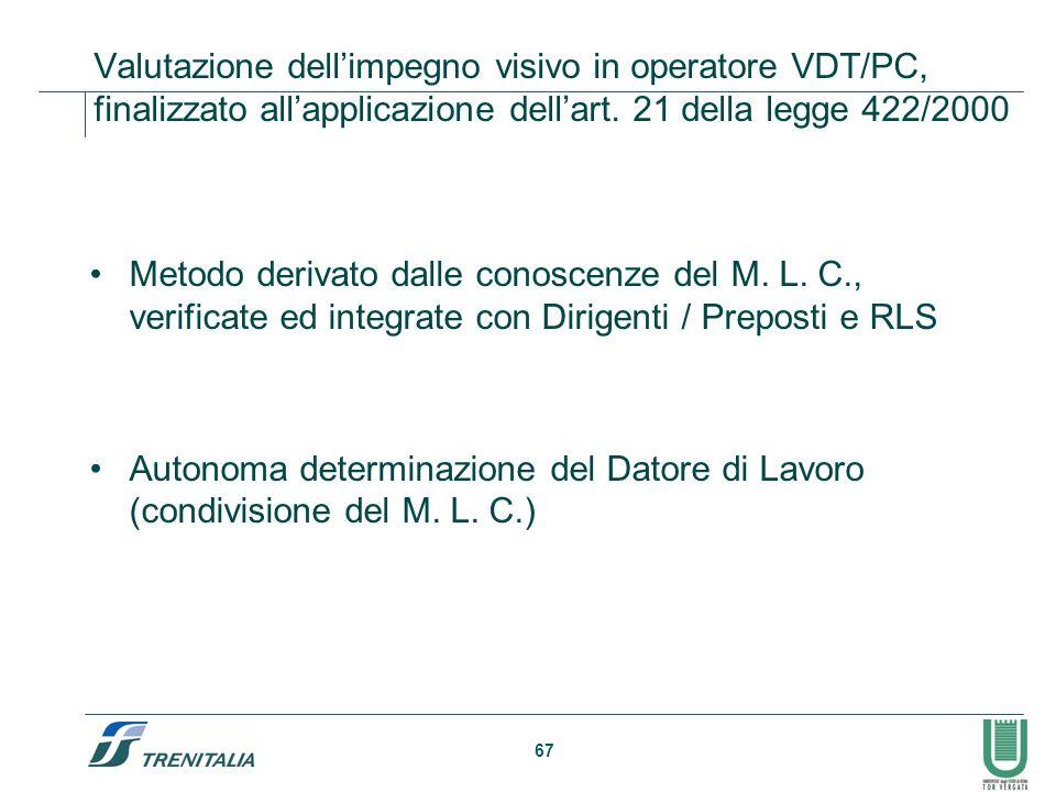 Valutazione dell'impegno visivo in operatore VDT/PC, finalizzato all'applicazione dell'art. 21 della legge 422/2000
