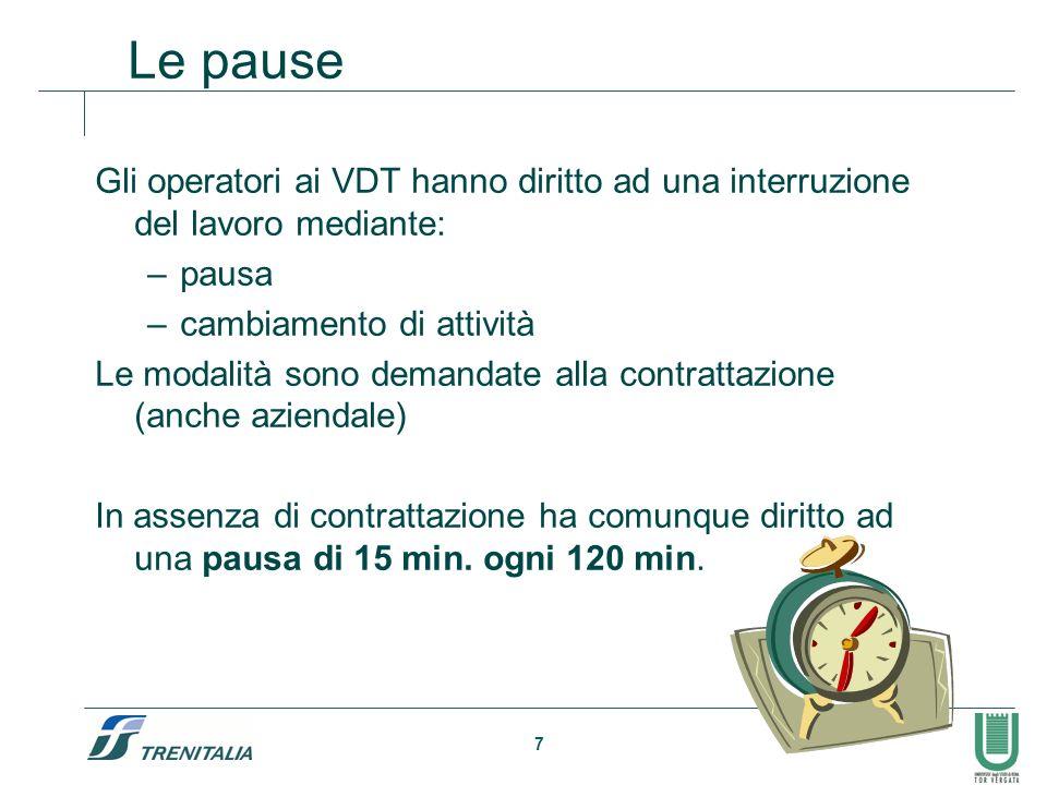 Le pause Gli operatori ai VDT hanno diritto ad una interruzione del lavoro mediante: pausa. cambiamento di attività.
