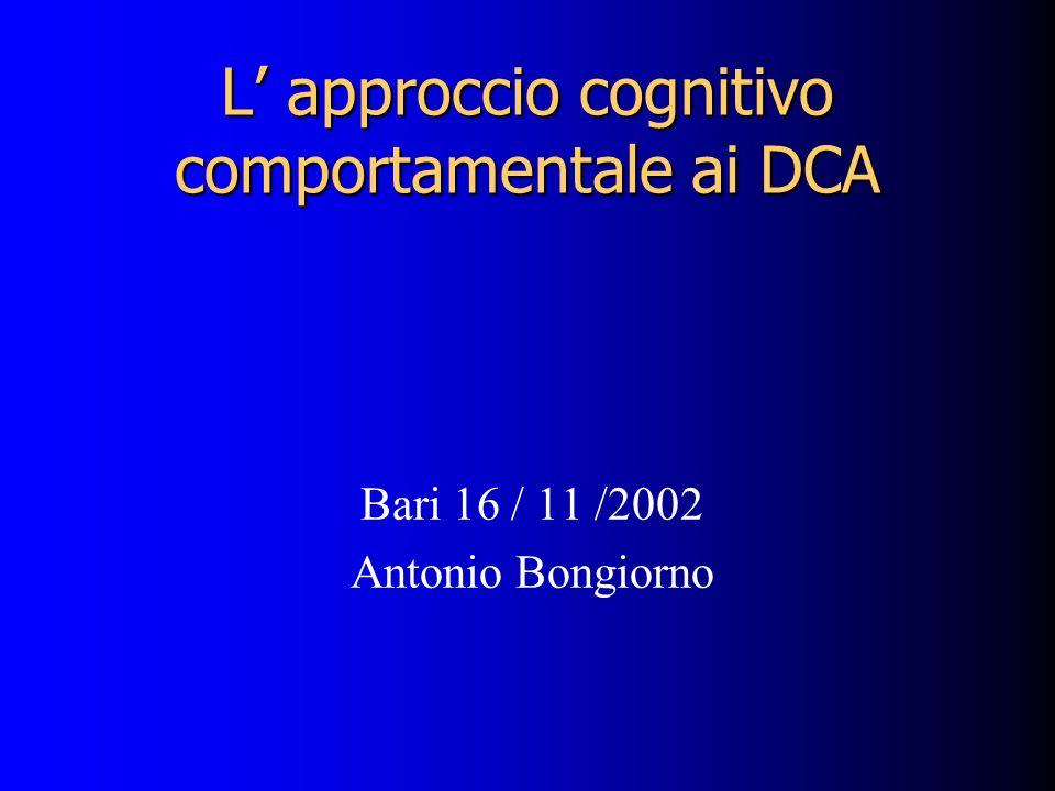 L' approccio cognitivo comportamentale ai DCA