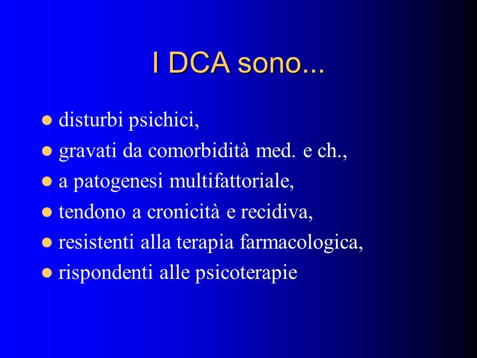 I DCA sono... disturbi psichici, gravati da comorbidità med. e ch.,