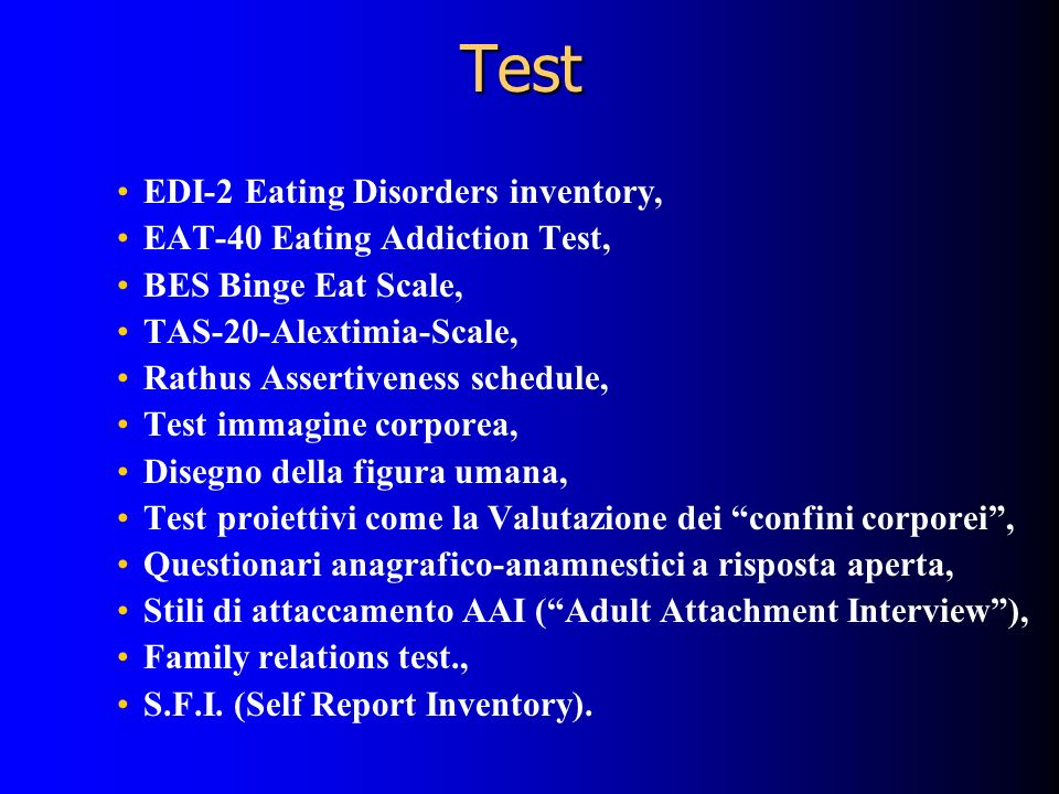 Test EDI-2 Eating Disorders inventory, EAT-40 Eating Addiction Test,