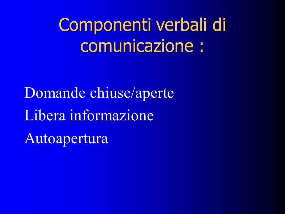 Componenti verbali di comunicazione :