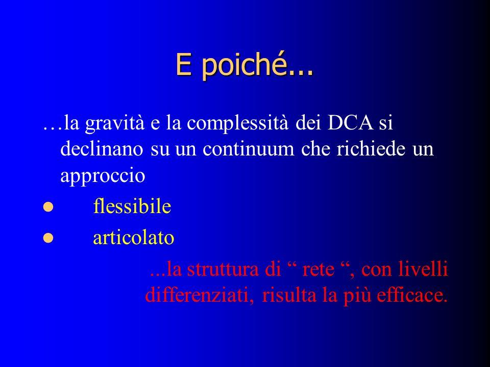 E poiché... …la gravità e la complessità dei DCA si declinano su un continuum che richiede un approccio.