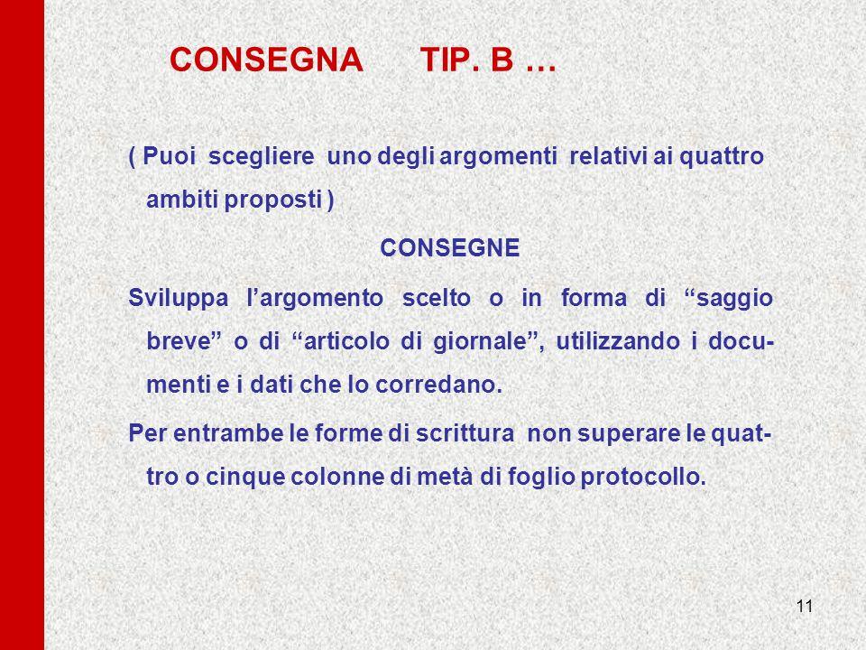 CONSEGNA TIP. B …( Puoi scegliere uno degli argomenti relativi ai quattro ambiti proposti )