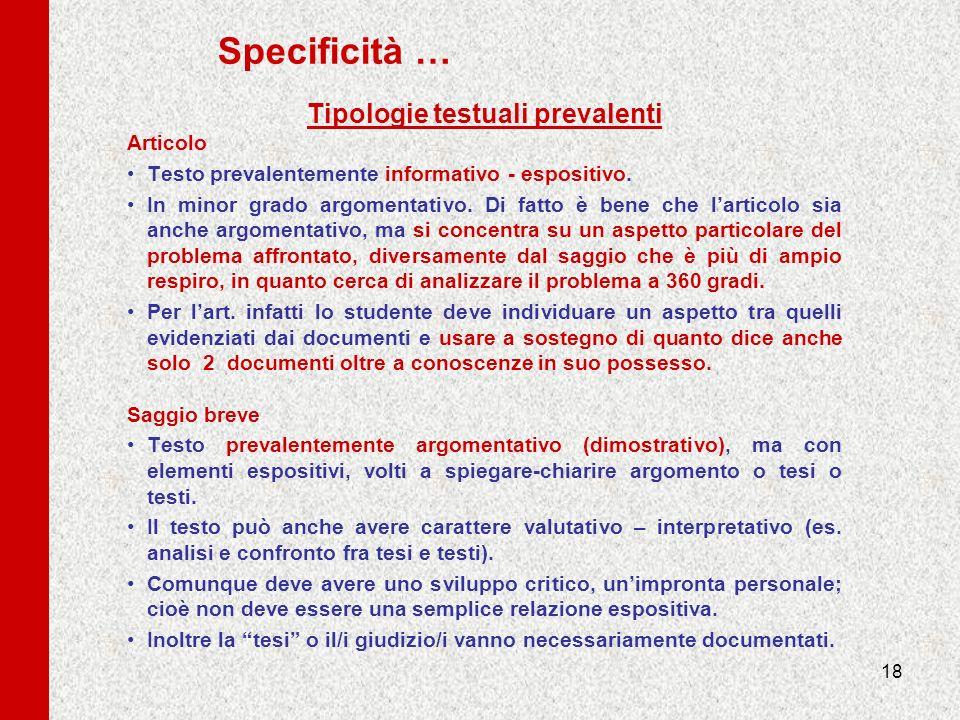 Tipologie testuali prevalenti