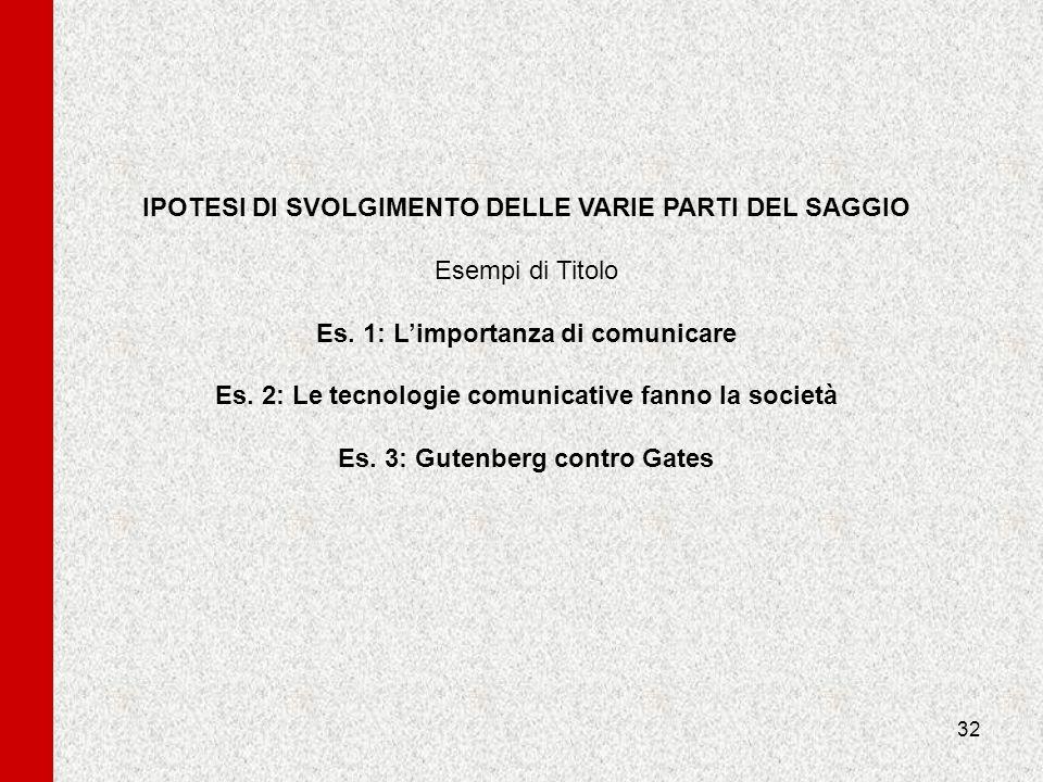IPOTESI DI SVOLGIMENTO DELLE VARIE PARTI DEL SAGGIO Esempi di Titolo