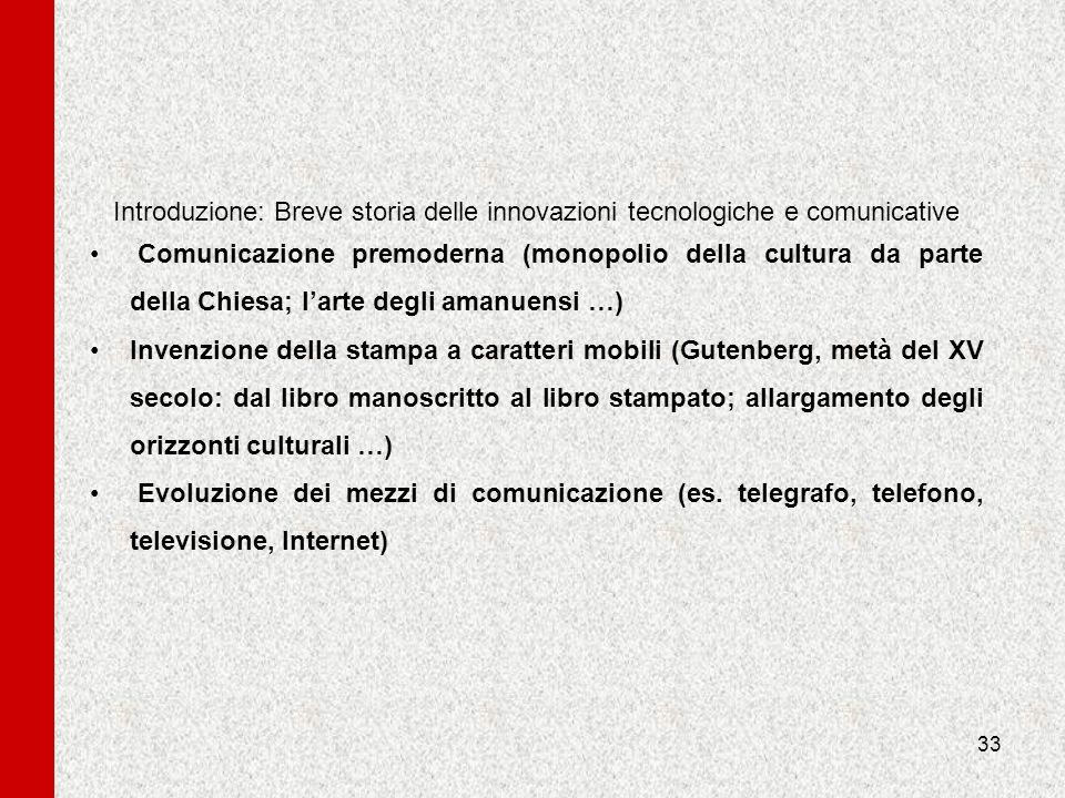 Introduzione: Breve storia delle innovazioni tecnologiche e comunicative