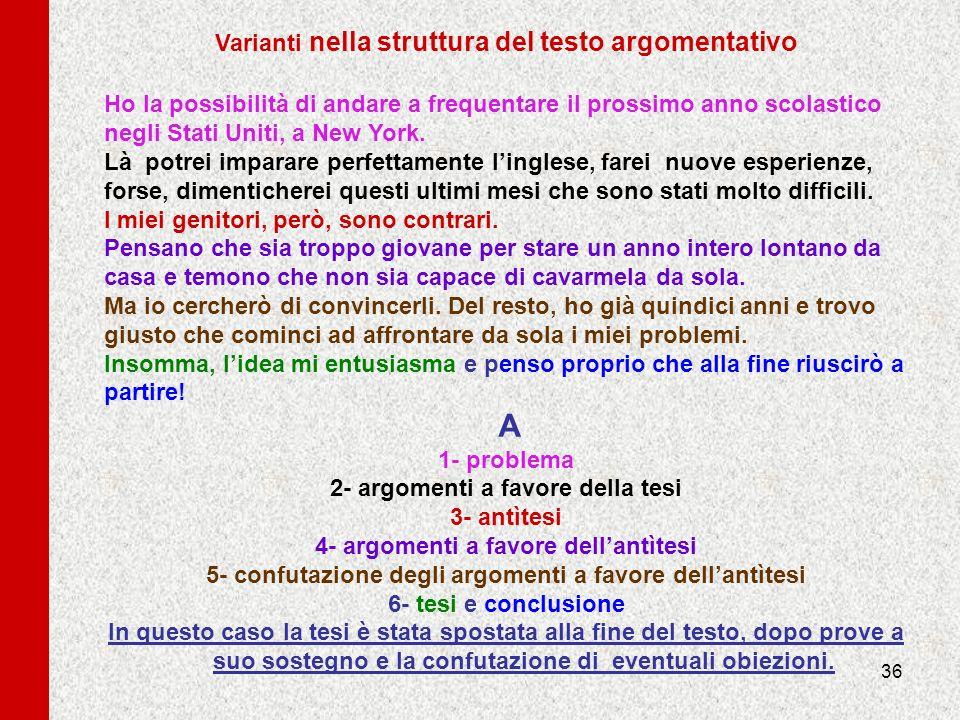 Varianti nella struttura del testo argomentativo