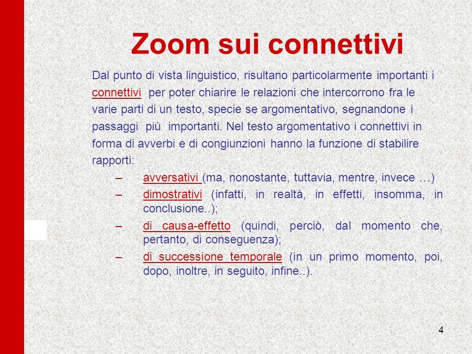 Zoom sui connettivi Dal punto di vista linguistico, risultano particolarmente importanti i.