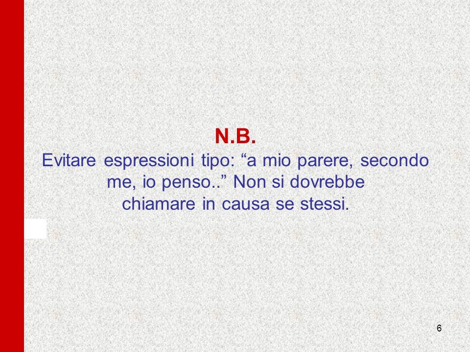 N. B. Evitare espressioni tipo: a mio parere, secondo me, io penso