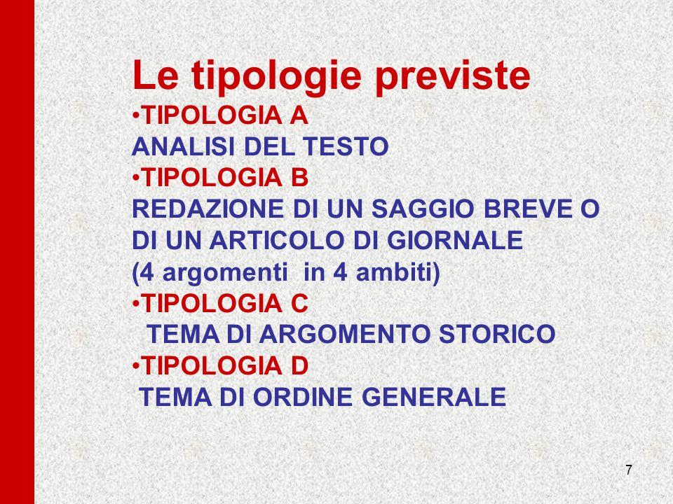 Le tipologie previste TIPOLOGIA A ANALISI DEL TESTO TIPOLOGIA B