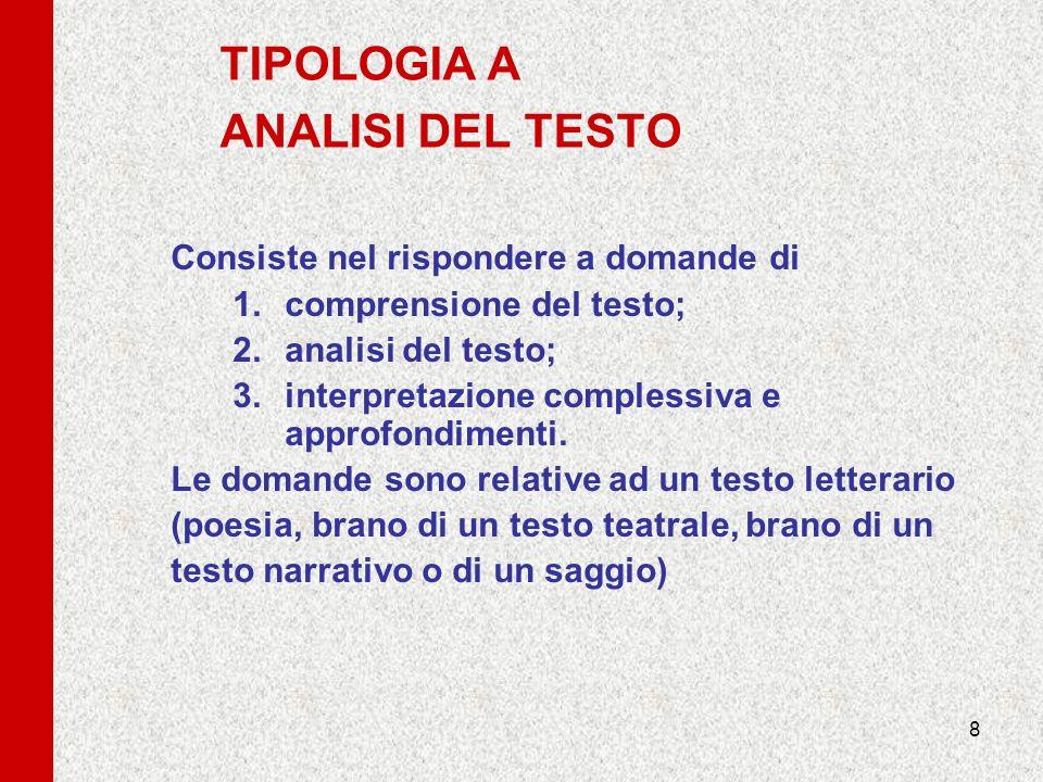TIPOLOGIA A ANALISI DEL TESTO