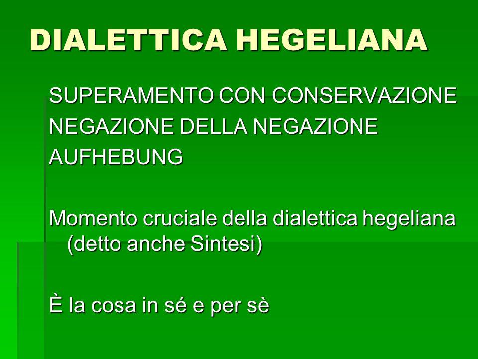 DIALETTICA HEGELIANA SUPERAMENTO CON CONSERVAZIONE