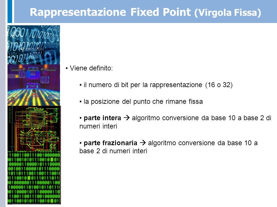 Rappresentazione Fixed Point (Virgola Fissa)