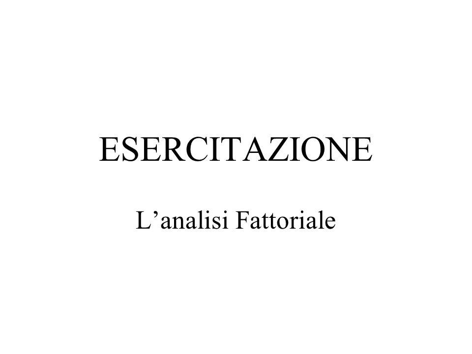 ESERCITAZIONE L'analisi Fattoriale