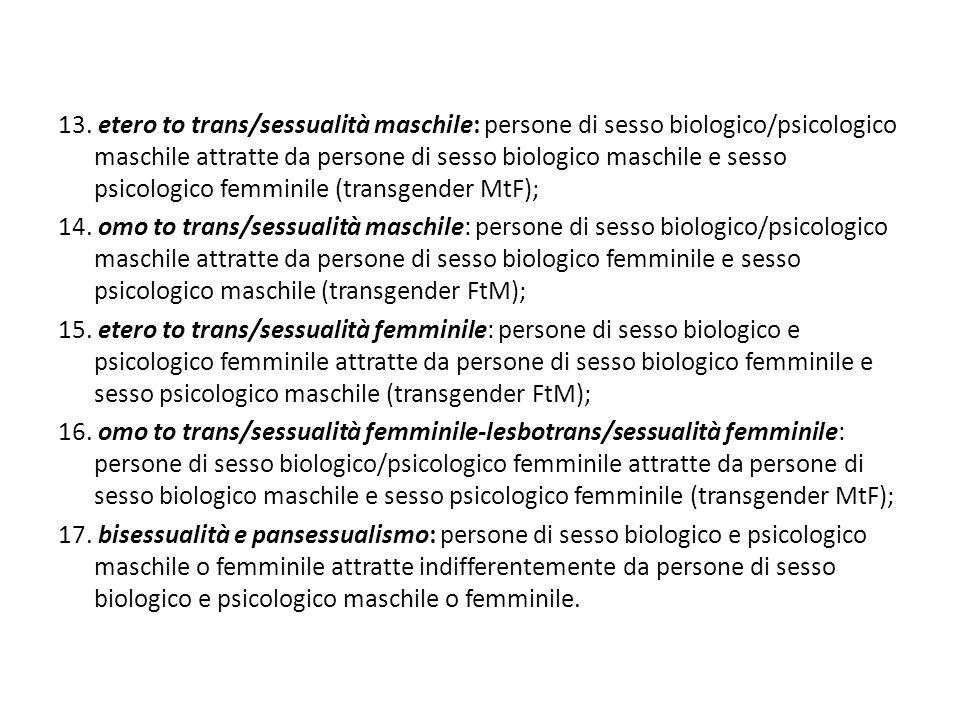 13. etero to trans/sessualità maschile: persone di sesso biologico/psicologico maschile attratte da persone di sesso biologico maschile e sesso psicologico femminile (transgender MtF);