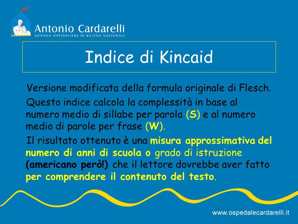 Indice di Kincaid Versione modificata della formula originale di Flesch.
