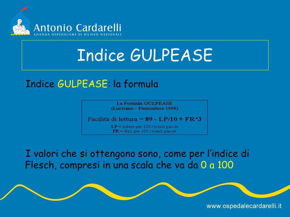 Indice GULPEASE Indice GULPEASE: la formula