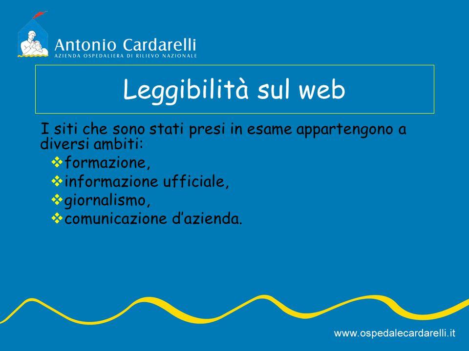 Leggibilità sul web I siti che sono stati presi in esame appartengono a diversi ambiti: formazione,