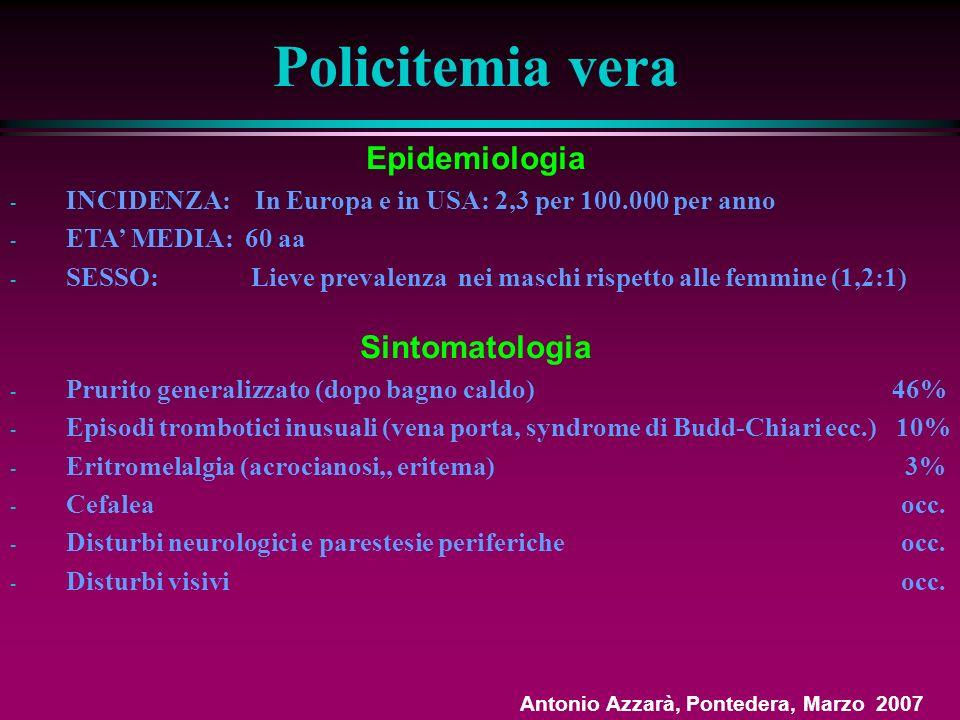 Policitemia vera Epidemiologia Sintomatologia