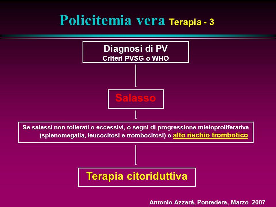 Policitemia vera Terapia - 3 Terapia citoriduttiva