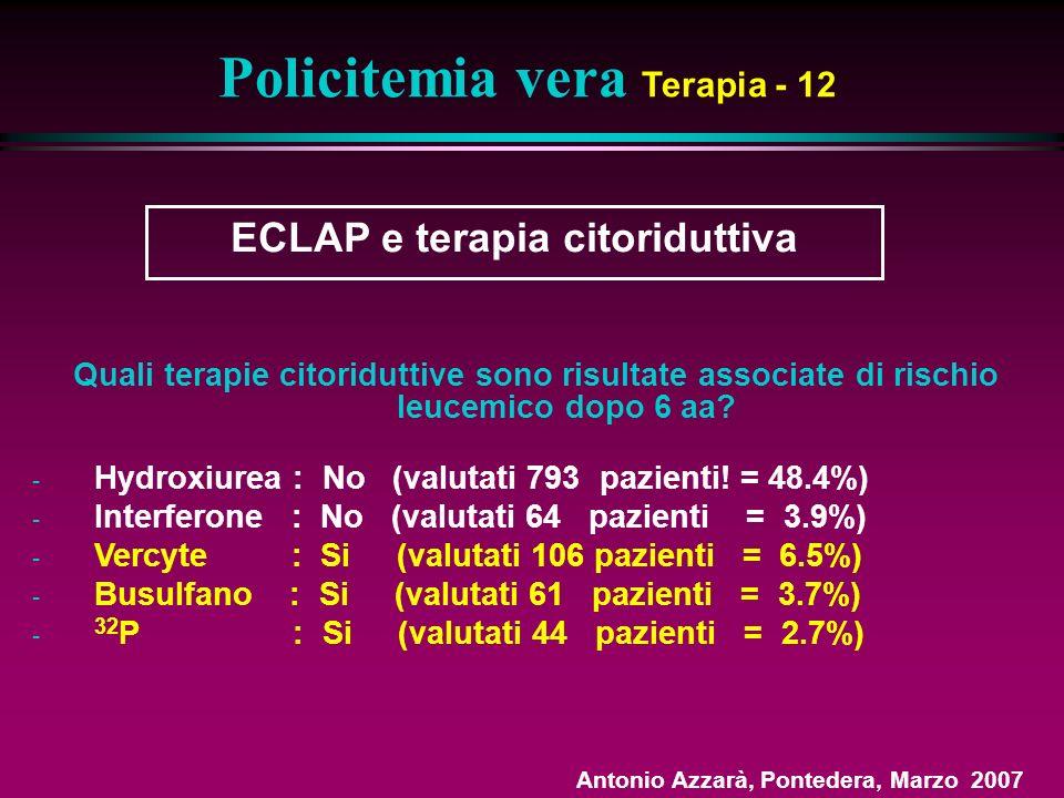 Policitemia vera Terapia - 12 ECLAP e terapia citoriduttiva