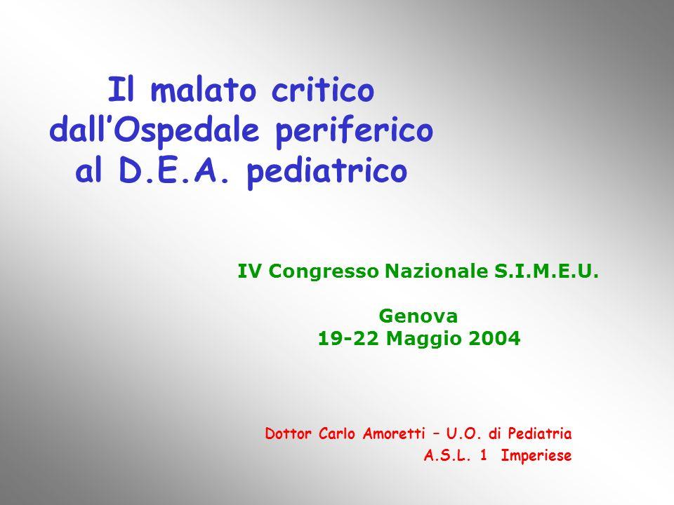 Il malato critico dall'Ospedale periferico al D.E.A. pediatrico