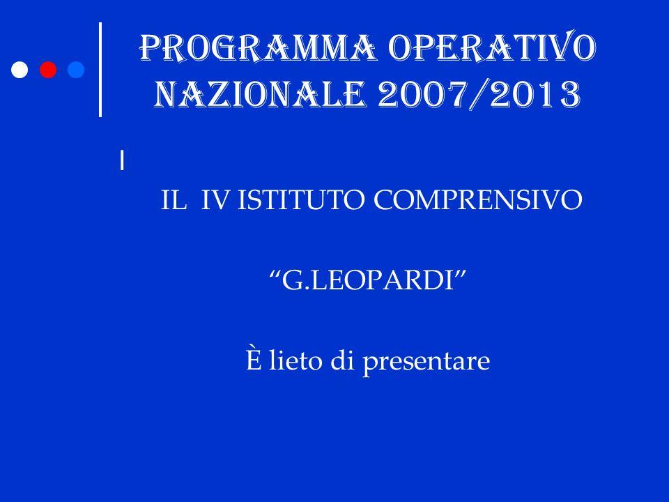 PROGRAMMA OPERATIVO NAZIONALE 2007/2013