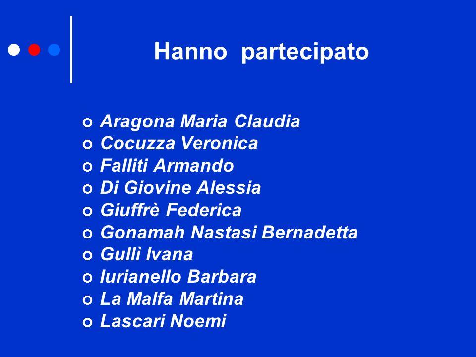 Hanno partecipato Aragona Maria Claudia Cocuzza Veronica