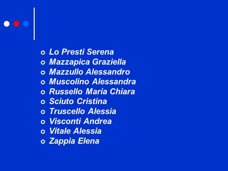 Lo Presti Serena Mazzapica Graziella. Mazzullo Alessandro. Muscolino Alessandra. Russello Maria Chiara.
