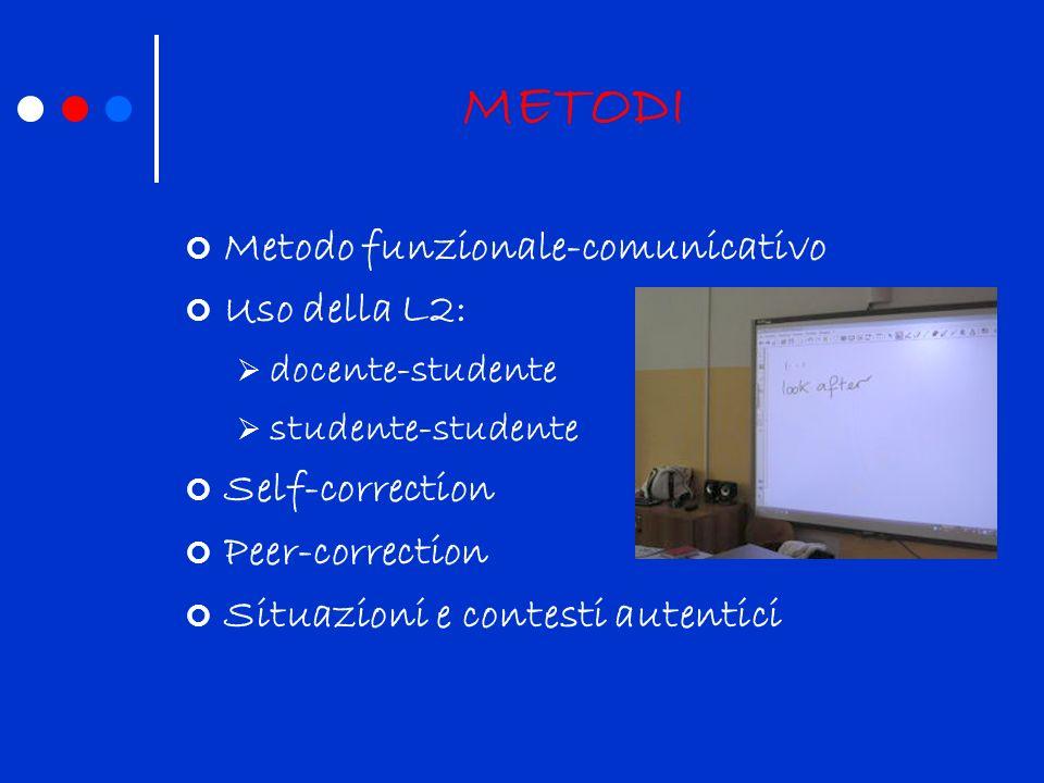 METODI Metodo funzionale-comunicativo Uso della L2: Self-correction