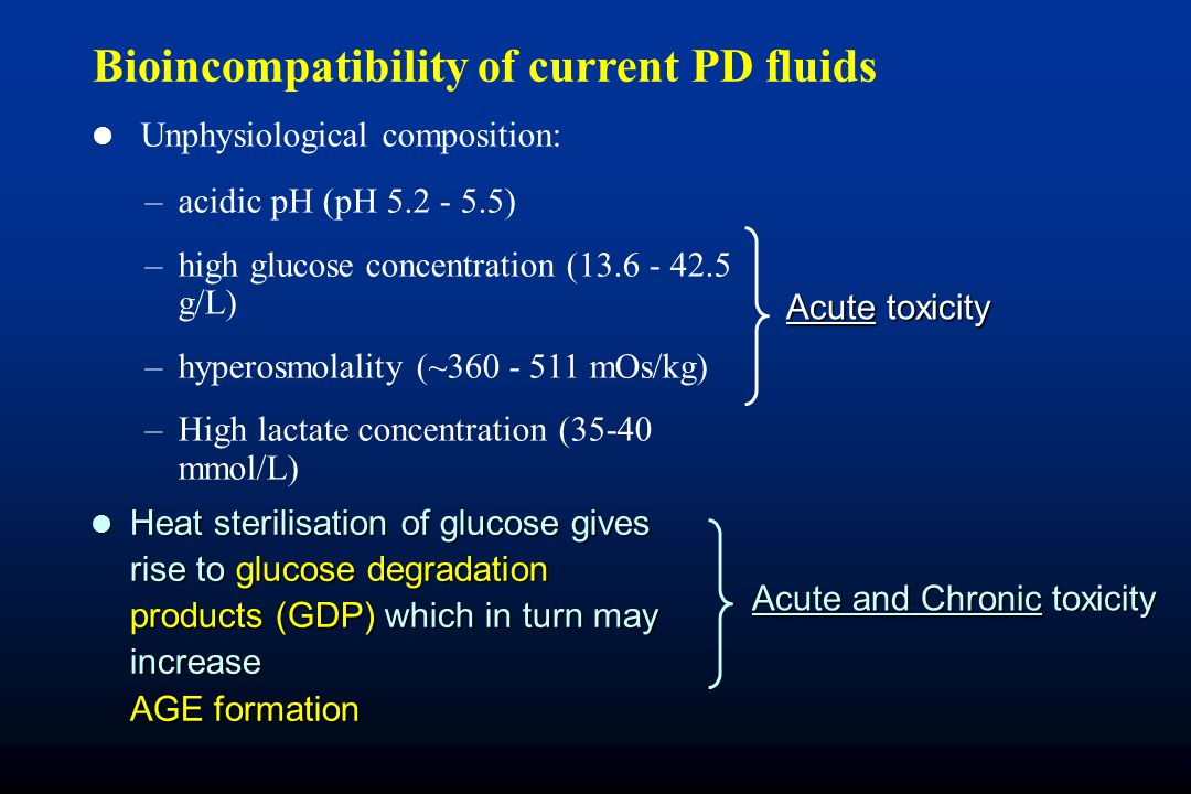 Bioincompatibility of current PD fluids