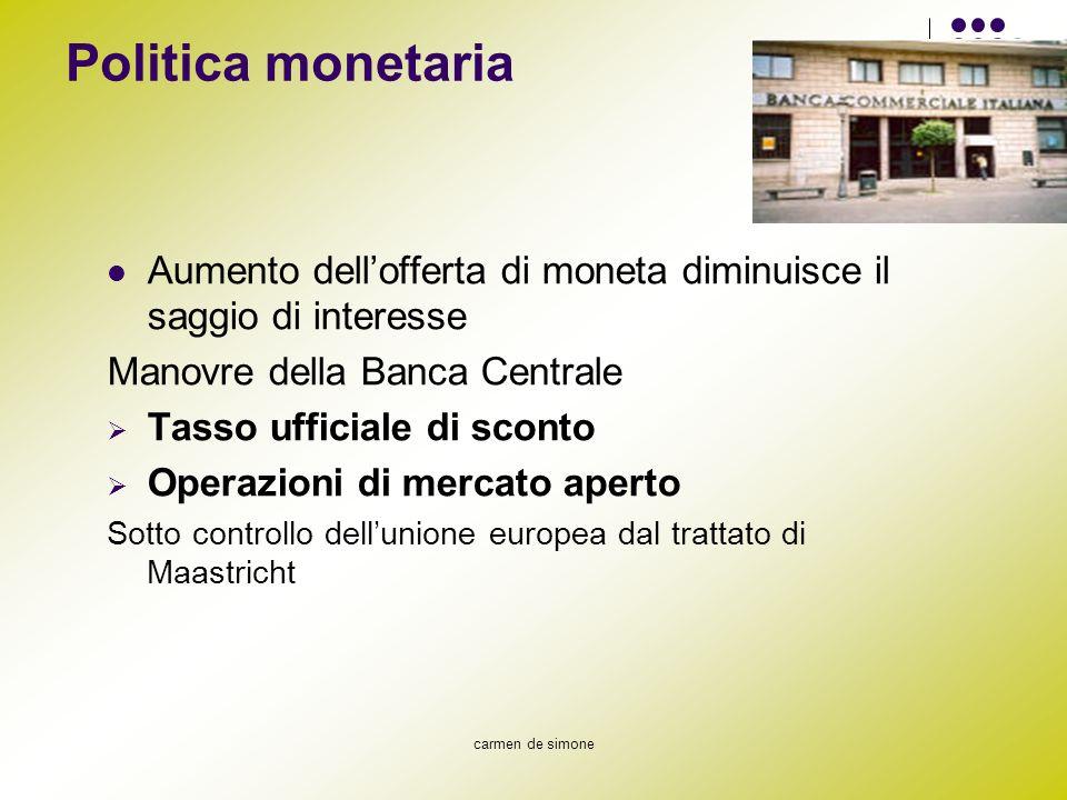Politica monetaria Aumento dell'offerta di moneta diminuisce il saggio di interesse. Manovre della Banca Centrale.