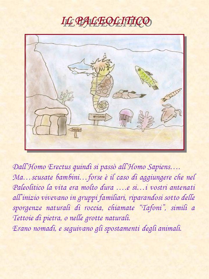 IL PALEOLITICO Dall'Homo Erectus quindi si passò all'Homo Sapiens….