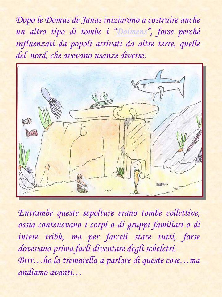 Dopo le Domus de Janas iniziarono a costruire anche un altro tipo di tombe i Dolmens , forse perché influenzati da popoli arrivati da altre terre, quelle del nord, che avevano usanze diverse.