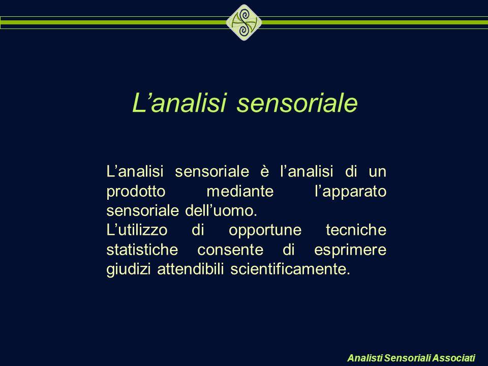 L'analisi sensoriale L'analisi sensoriale è l'analisi di un prodotto mediante l'apparato sensoriale dell'uomo.