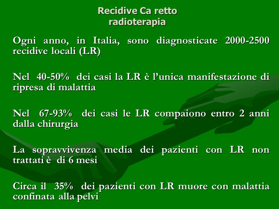 Recidive Ca retto radioterapia
