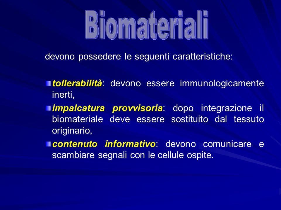 Biomateriali devono possedere le seguenti caratteristiche:
